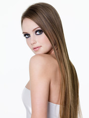 Beauty of young woman with long hair