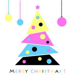 Abstract christmas tree in magenta, cyan, yellow and black color