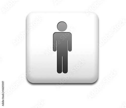 Boton cuadrado blanco simbolo hombre