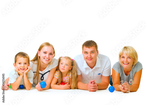 Happy Big Family. Parents with Kids