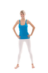 woman young healthy woman doing fitness exercises over white