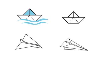 Papierschiff und Papierflieger