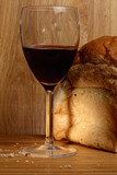 Wine and bread loaf
