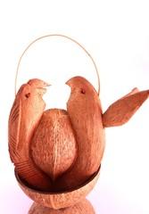 uccelli fatti con noce di cocco