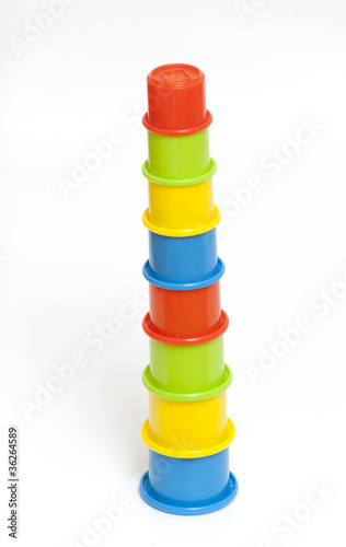 long pyramidmade of colorful cups