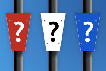 Tri-colour question mark signs