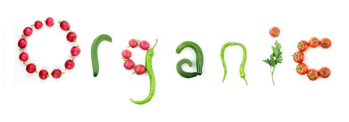 Organic vegetable text