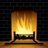 Blazing fireplace poster