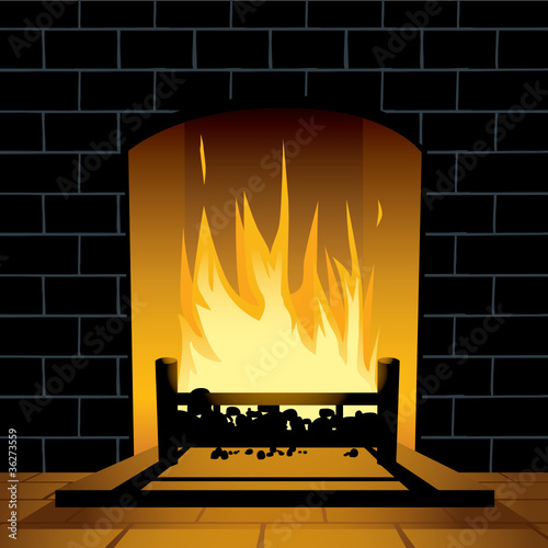 Blazing fireplace
