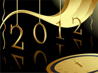 Gold 2012 card with midnight clock