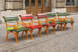Small colorful benches
