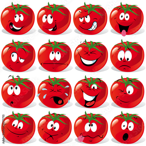 cartoon tomato with many expressions