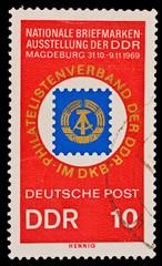 GERMANY - CIRCA 1969: Nationale Briefmarken-Ausstellung der DDR