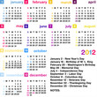 2012 calendar with official USA holidays