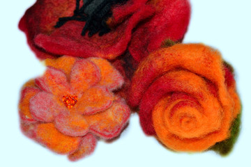 handmade woolen product with floral motif