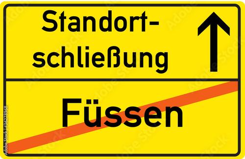 Schild Standortschließung Füssen