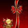 Red background with Christmas baubles
