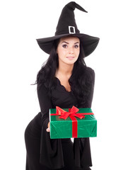 witch with a present