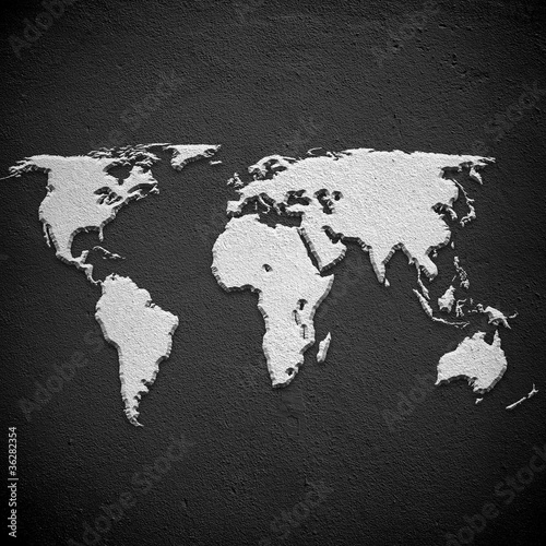 world map on concrete wall © Eky Chan