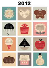 Vector Illustration of colorful style design Calendar for 2012