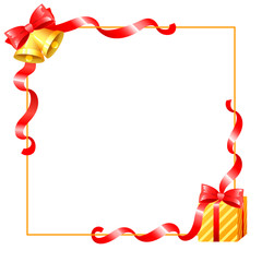 Christmas decoration and ribbons border