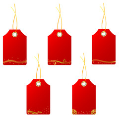 set of red christmas gift tags