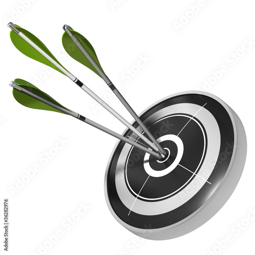 three green arrows hitting center of the same target