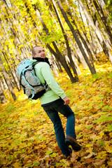 Hiker young man walking