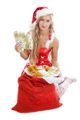 christmas girl with sack of money, isolated on white background