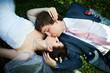 Romantic kiss bride and groom