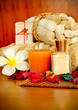 Spa products with flowers and towel