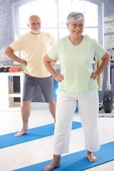 Elderly couple doing exercises