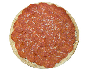 uncooked pepporoni pizza on a white background