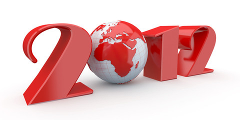 New Year. Text 2012 and earth