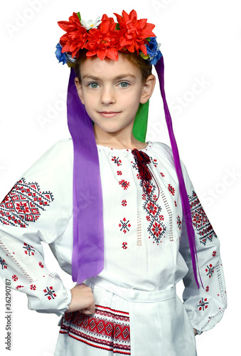 a girl is in the national Ukrainian suit
