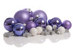 group of purple and white Christmas balls