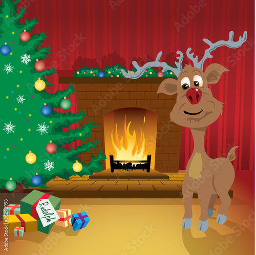 Reindeer present under the tree in front of fireplace