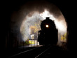 Steam locomotive enters tunnel - 36293381