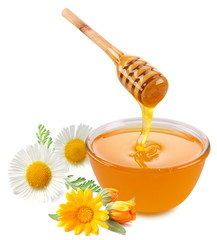 Honey pours with sticks in a jar. Flowers are near. Isolated on