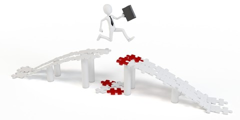 3d businessman  jump over puzzle bridge