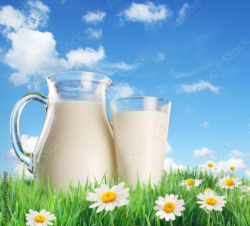 Milk in a jug and a glass