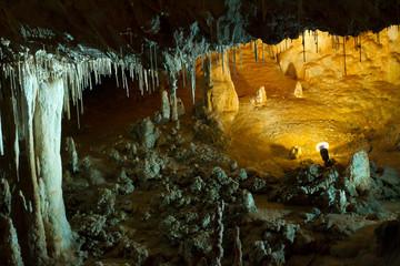 Stalactite stalagmite cavern. Stalactite cave in Israel