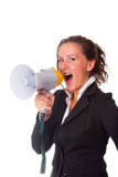 Business Woman Talking Through Megaphone