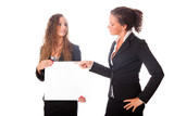 Business Women Holding Blank Board