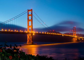 Golden Gate Bridge in San Francisco after sunset
