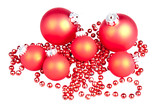 Red Christmas balls with a sting of small red balls poster