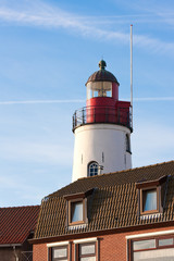 White lighthouse of the Dutch former island Urk