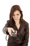 Woman pointing remote mad