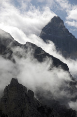 Clouds and peaks at head of valley near Murren in Swiss Alps