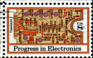 Progress in electronics. Transistors. US Postage.